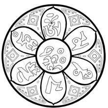 Tibetian om mantra mandala - Coloring page - MANDALA coloring pages - COUNTRIES mandalas