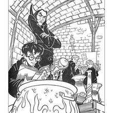 Harry Potter in the classroom coloring page - Coloring page - MOVIE coloring pages - HARRY POTTER coloring pages - HARRY POTTER printables
