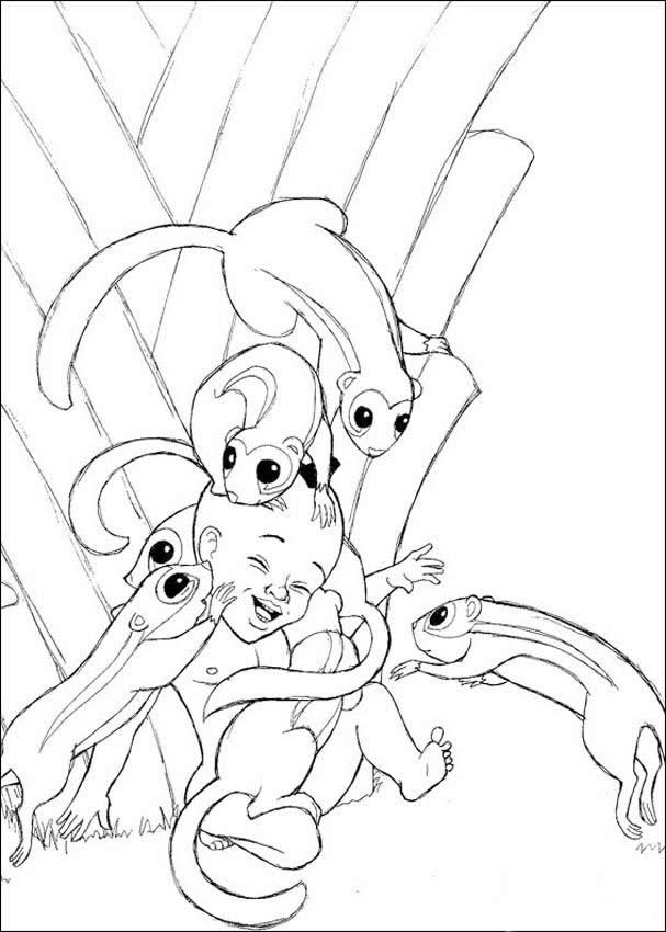 Kirikou with animals coloring pages - Hellokids.com