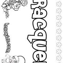 Racquel - Coloring page - NAME coloring pages - GIRLS NAME coloring pages - R names for girls coloring posters