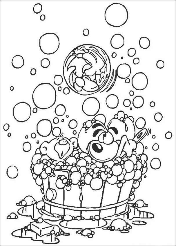 Diddl having a bath coloring page
