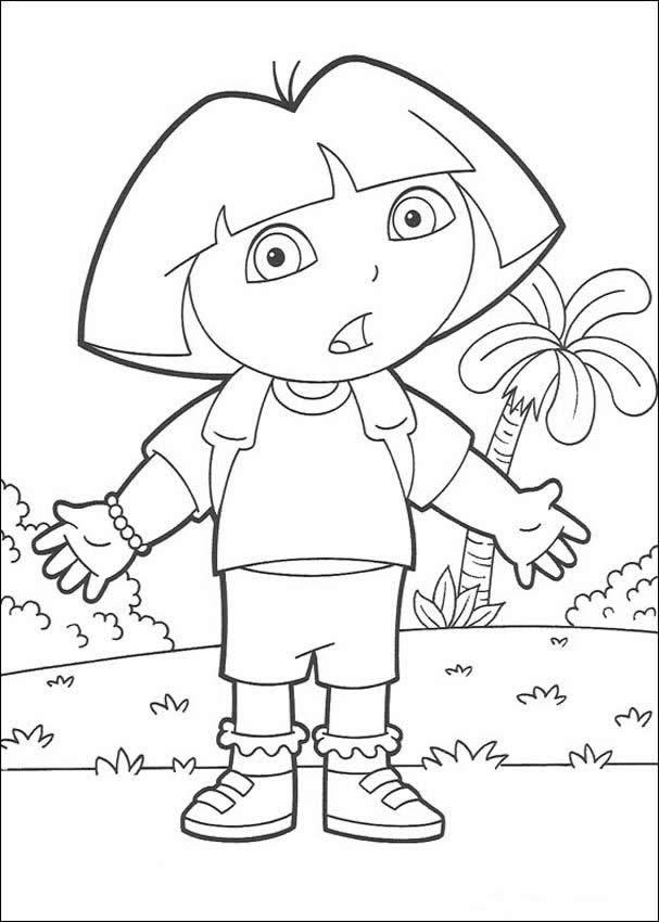 Surprised Dora The Explorer Coloring Pages