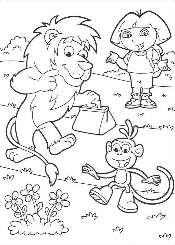 Dora The Explorer Boots The Monkey And Lion Coloring Pages