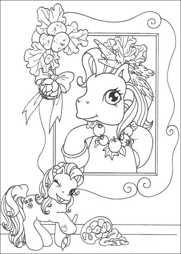 Pony's portrait coloring page