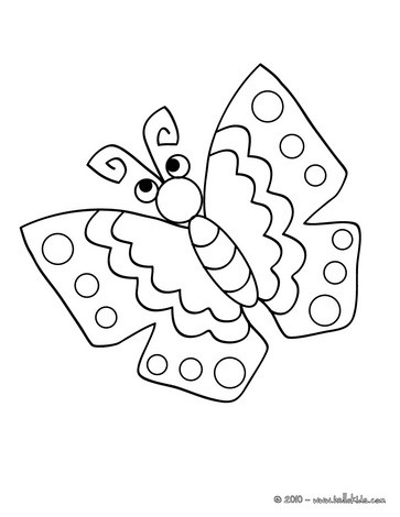 Kawaii butterfly coloring page