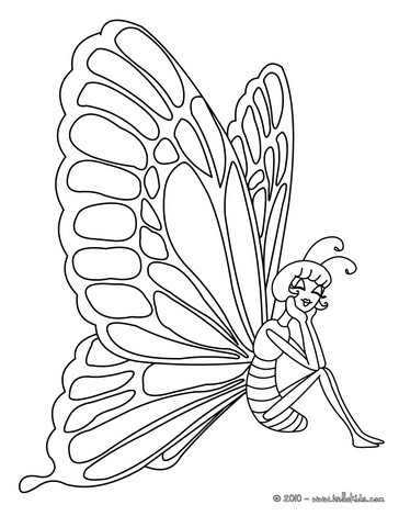 Kawaii butterfly picture coloring page