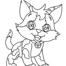 Happy kitten coloring page