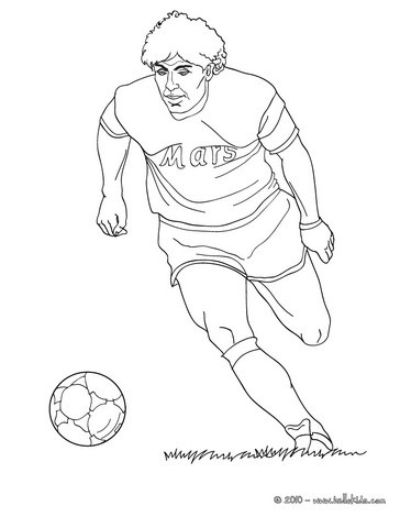 maradona playing soccer coloring page