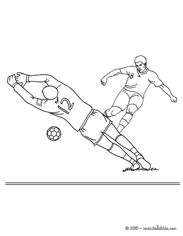 Soccer player scoring a penalty coloring page