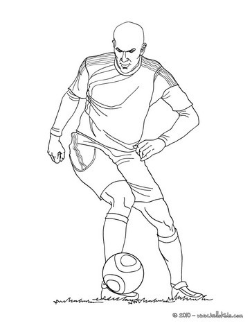 Zidane playing soccer coloring page