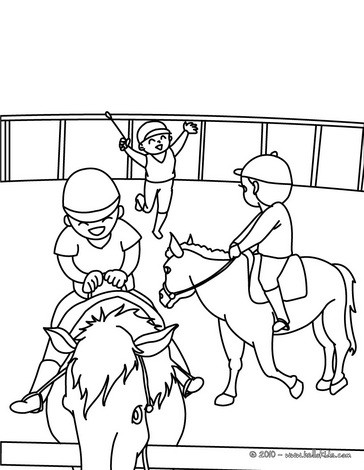 Horse riding school coloring pages Hellokids