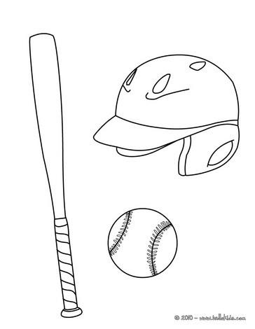 Baseball Equipment Coloring Page