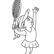Woman tennis player hitting a serve coloring page - Coloring page - SPORT coloring pages - TENNIS coloring pages - TENNIS SERVES coloring pages