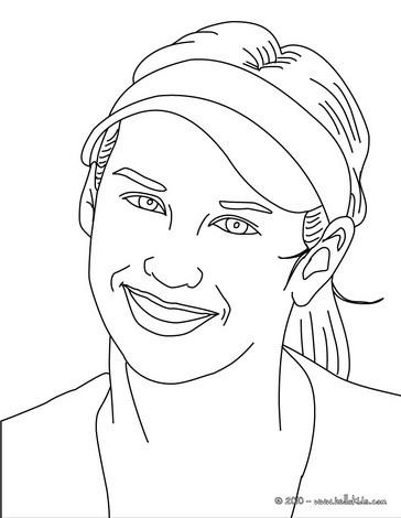 Anna Kournikova close-up coloring page