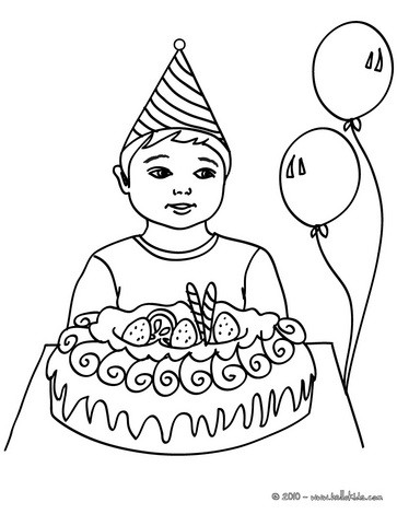 Boy with a birthday cake coloring pages for Birthday boy coloring pages