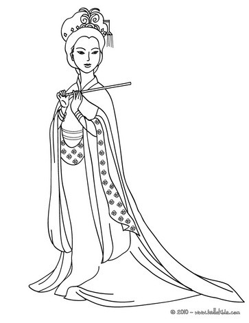 Chinese princess coloring page