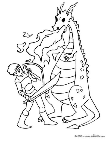 Dragon against knight coloring pages - Hellokids.com