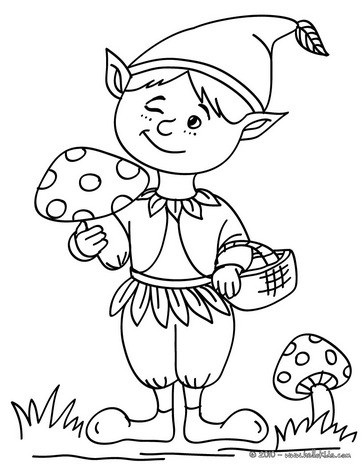 Elf making a wink coloring page