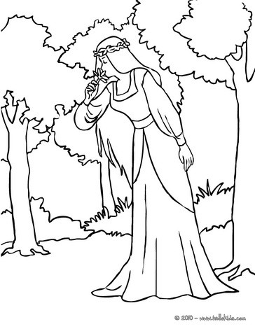 Fairy in the wood coloring page