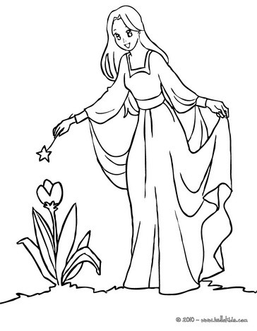 Fairy putting a curse coloring page