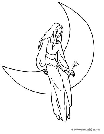 Fairy on the moon coloring page