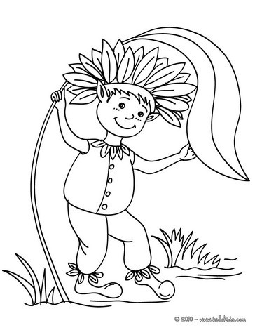 Funny elf coloring page