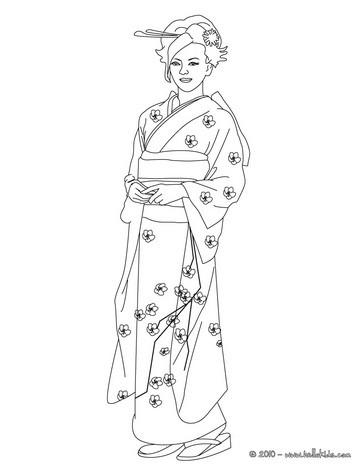 Japanese princess coloring page