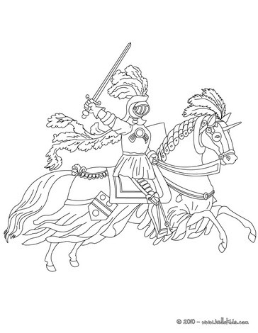 Knight on horseback running coloring pages for Knight on horse coloring page