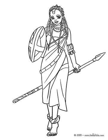 Massai princess coloring page