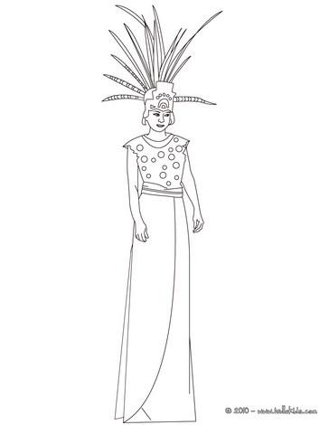 Mayan princess coloring page
