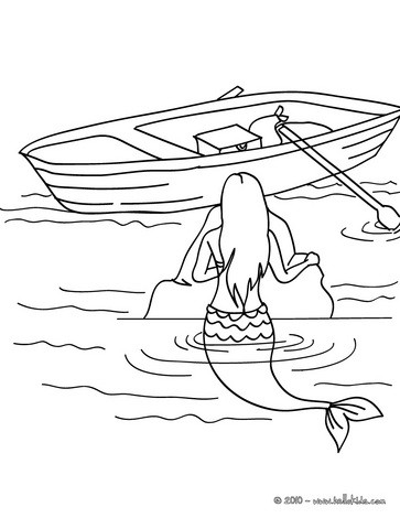 Mermaid observing a boat coloring page