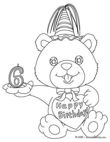 Birthday candle 6 years coloring page
