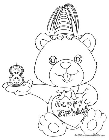 Birthday candle 8 years coloring page