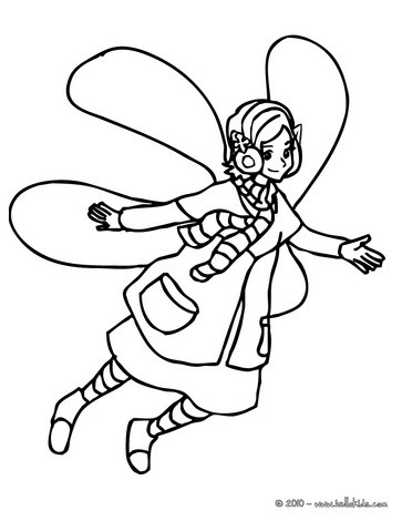 Winter winged elf coloring page