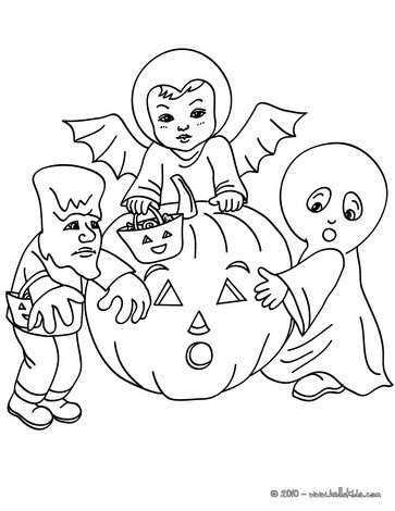 Ghost, Bat and Frankenstein coloring page