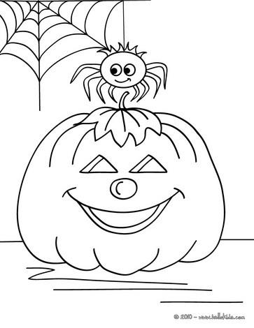 Tarantula and pumpkin coloring page