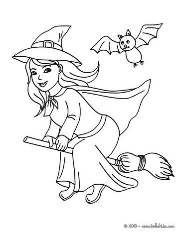 Happy witch halloween night flight coloring pages ...