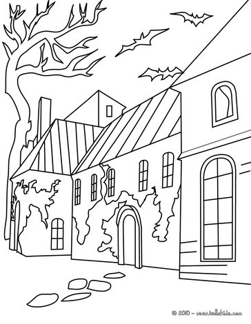 haunted manor coloring pages