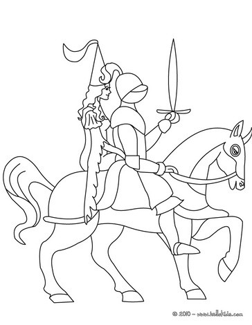 One Knight In Armor On Horseback With A Princess