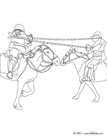 Knights Jousting On Horseback Coloring Page