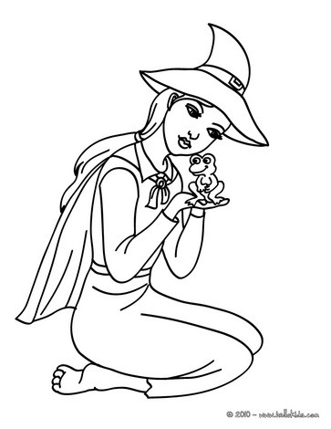 Lovely witch holds a frog coloring page