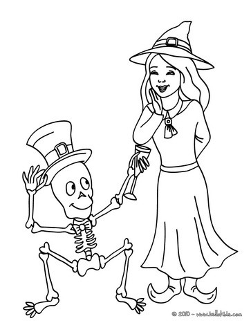 Witch and skeleton coloring page