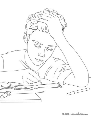 Pupil writting coloring page