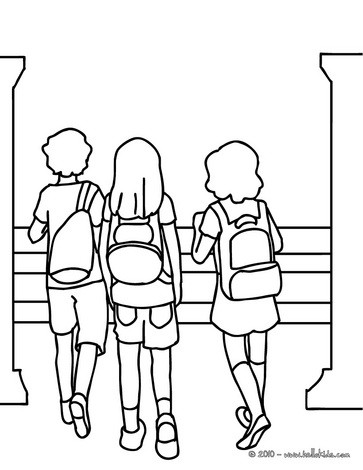 Pupils going to school coloring page