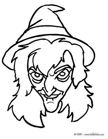 Scary witch face coloring pages - Hellokids.com
