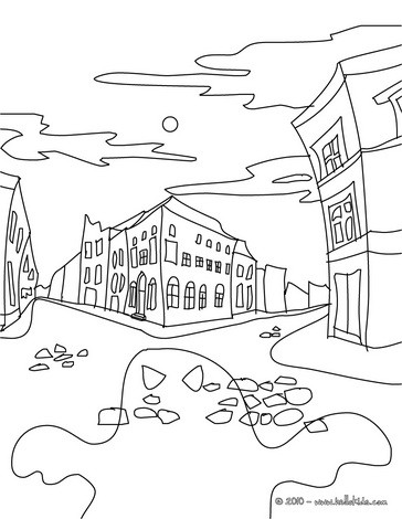 Haunted City coloring page