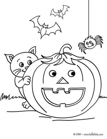 Smiling pumpkin with halloween friends coloring pages - Hellokids.com