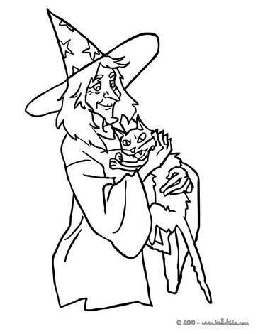 Witch hugs a kitten coloring page