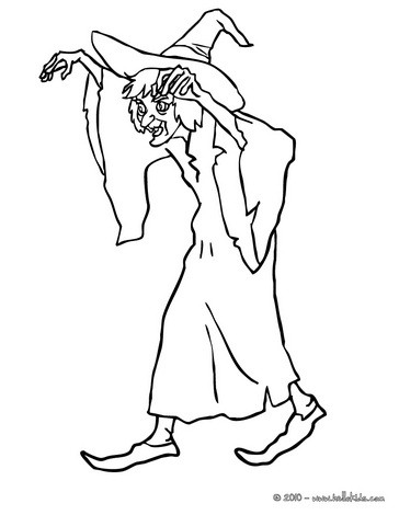 Witch casts a spell coloring page