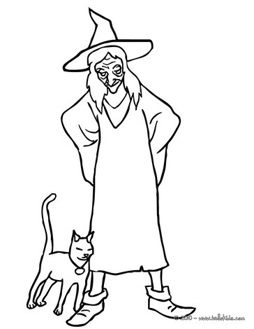 Witch with black kitten coloring page